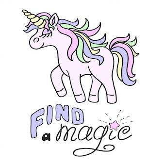 Różowy jednorożec i znajdź magiczny napis