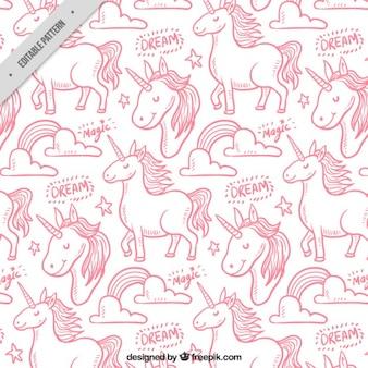 Różowy jednorożec ręcznie narysować wzór