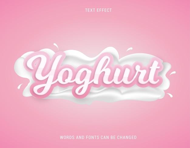 Różowy jogurt mleczny efekt tekstowy edytowalny wektor