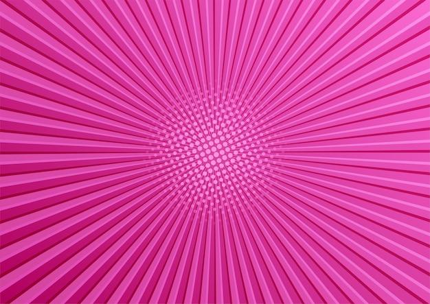 Różowy komiks pop-artu półtonów tło z promieniami słonecznymi.