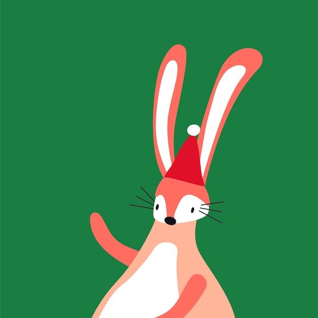 Różowy królik w stylu cartoon wektor