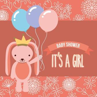 Różowy królik z balonami baby shower to dziewczyna