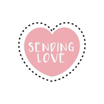 Różowy kształt serca z wysyłaniem napisów typografii miłosnej wewnątrz na romantyczne życzenia wektor swobodny