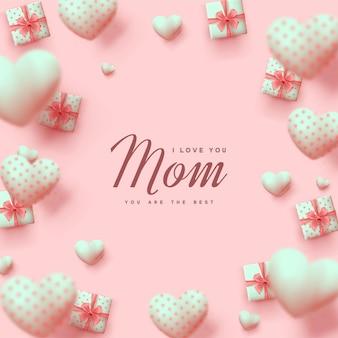 Różowy kwadrat na dzień matki z pięknym pudełkiem prezentowym 3d.