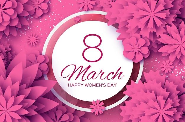 Różowy kwiat cięty papier. 8 marca. życzenia z okazji dnia kobiet. kwiatowy bukiet origami. okrągła ramka. tekst.