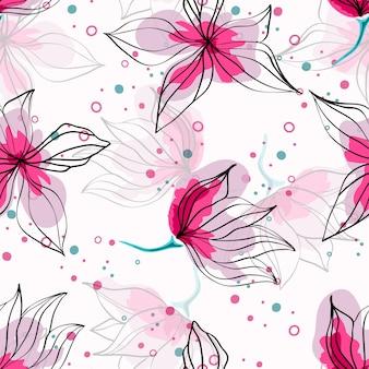 Różowy kwiat hibiskusa tropikalny wzór. egzotyczny wzór z delikatnymi pąkami. kwiatowy hawajski styl tło włókienniczych z kwiatami.