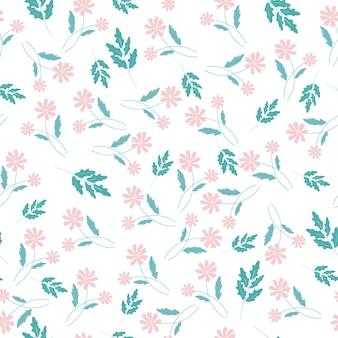Różowy kwiat i zielony liść wzór