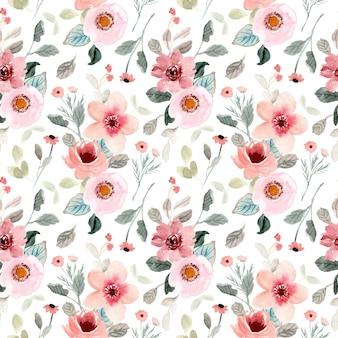 Różowy kwiat ogród akwarela bezszwowe wzór