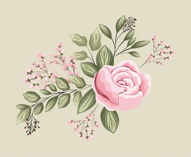 Różowy kwiat róży z liśćmi malowanie projekt, naturalny kwiatowy ornament roślinny dekoracja ogrodowa