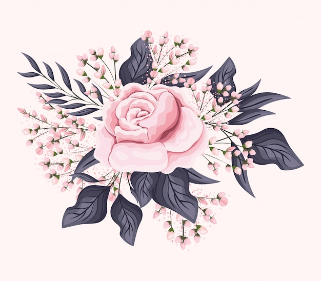 Różowy kwiat róży z liśćmi projekt malarski, naturalny kwiatowy ornament roślinny dekoracja ogrodowa i ilustracja motyw botaniczny
