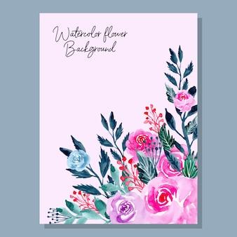 Różowy kwiat tle akwarela