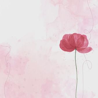 Różowy kwiat, tło akwarela