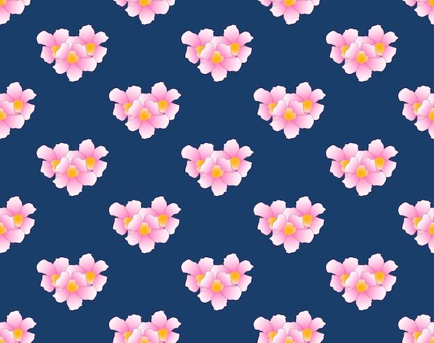 Różowy kwiat trąbka bez szwu na indygo niebieskim tle