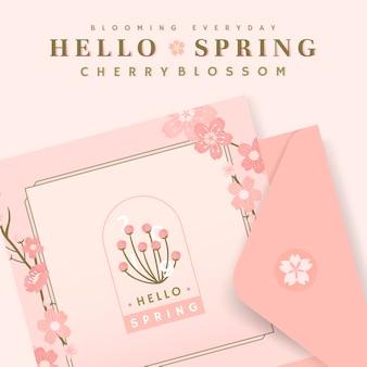 Różowy kwiat wiśni pocztówka szablon wektor