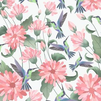Różowy kwiat z zielonym liściem i uroczym kolibrem.