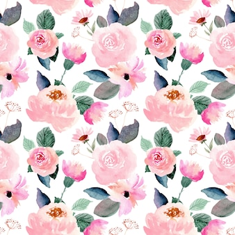 Różowy kwiatowy akwarela bezszwowe wzór
