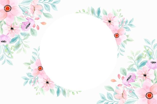 Różowy kwiatowy tło ramki z akwarelą