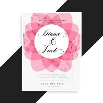 Różowy kwiatowy wzór karty ślubu