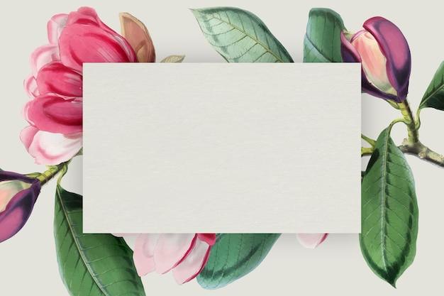 Różowy kwitnący kwiatowy wektor ramki