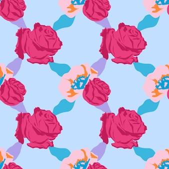 Różowy ładny kwiatowy wzór z różami na niebieskim tle