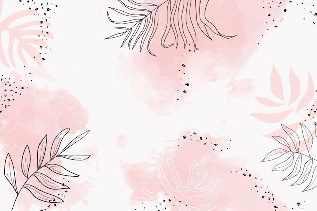Różowy liściasty wektor tła akwarela watercolor