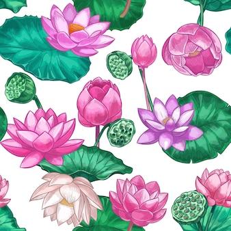 Różowy lotos wzór. delikatne kwiaty lilii wodnej, różowy lotos. ozdobny tropikalny wzór dla produktów do pielęgnacji ajurwedy wektor tekstury. ilustracja bez szwu kwiatu kwiatu i flory