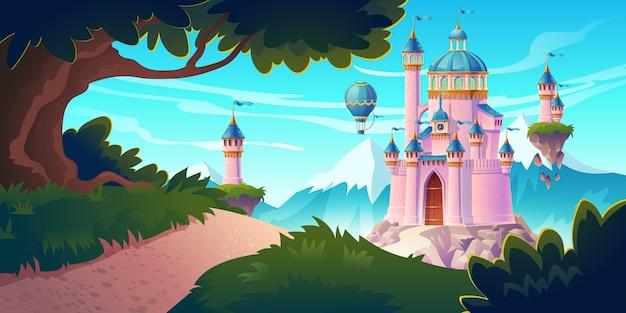 Różowy magiczny zamek, księżniczka lub bajkowy pałac w górach ze skalistą drogą prowadzą do bram z latającymi wieżyczkami i balonami powietrznymi na niebie. fantasy forteca, średniowieczna architektura. ilustracja kreskówka