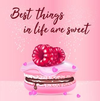 Różowy makaronik realistyczny szablon postu w mediach społecznościowych. ciastko migdałowe z jagodami makieta reklam 3d z tekstem. najlepsze rzeczy w życiu to słodki, promocyjny kwadratowy baner internetowy