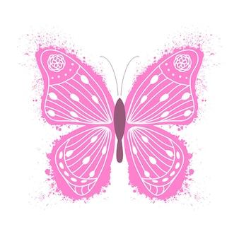 Różowy motyl z ręcznie rysowane wzór na białym tle.