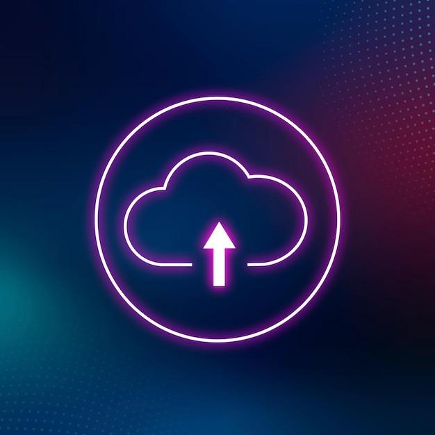 Różowy neon chmura ikona cyfrowy system sieciowy