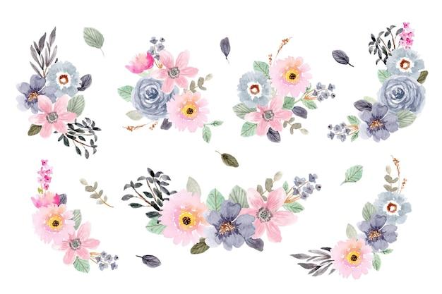 Różowy niebieski kwiatowy układ akwareli kolekcji