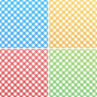 Różowy, niebieski, zielony, żółty i biały bawełniany materiał w kratkę