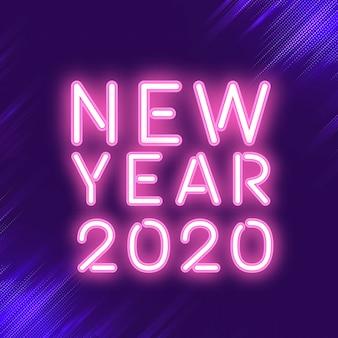 Różowy nowy rok 2020 neon wektor znak