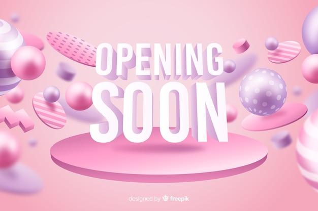 Różowy otwarcie wkrótce tło realistyczny projekt