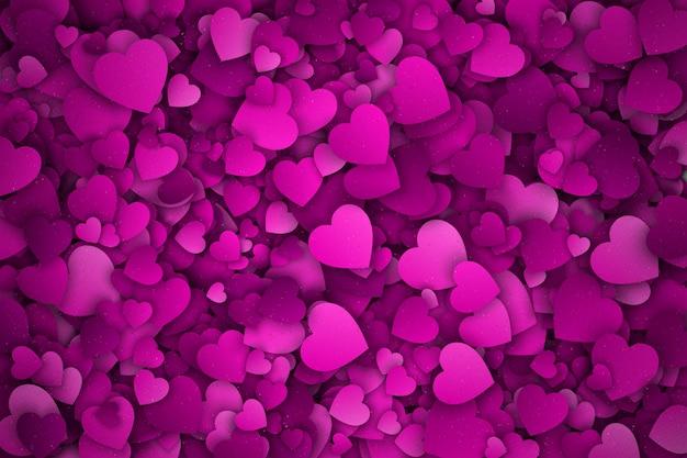 Różowy papier 3d serca streszczenie tło