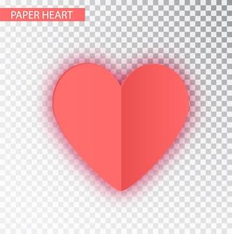 Różowy papier serce na białym tle
