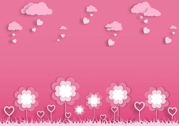Różowy papier wyciąć ogród ilustracji