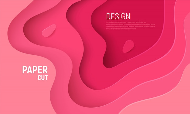 Różowy papier wyciąć tło z warstw fal różowy