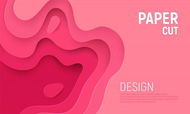 Różowy papier wycięty szlamem 3d abstrakcyjne tło i warstwami fal różowych