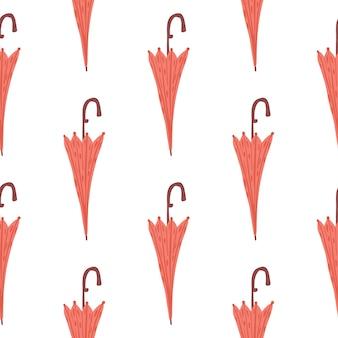 Różowy parasol sezon bezszwowe doodle wzór. nadruk na białym tle.