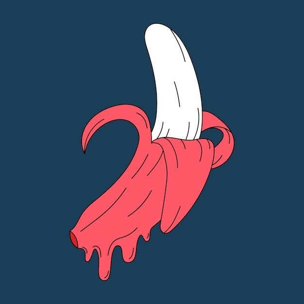 Różowy pastelowy soczysty banan wektor