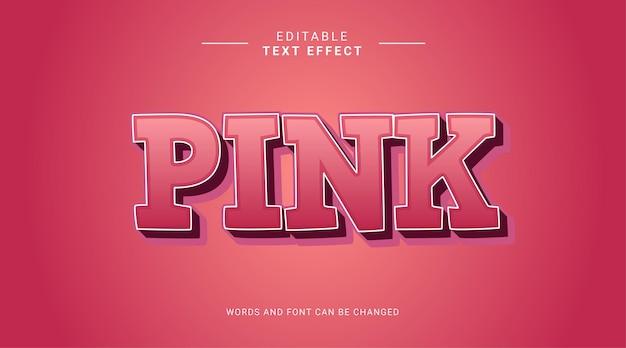 Różowy, pogrubiony, edytowalny szablon efektu tekstowego 3d