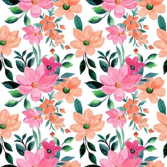 Różowy pomarańczowy kwiatowy wzór akwarela