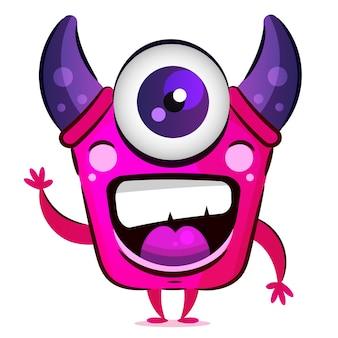 Różowy potwór z rogami i jednym okiem ilustracja na pocztówki, koszulki i akcesoria.