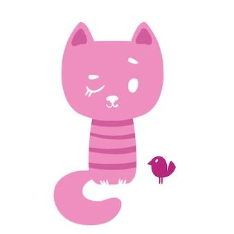 Różowy pręgowany kotek i ptak ilustracja wektorowa w stylu dzieci z kreskówek na białym tle zabawa