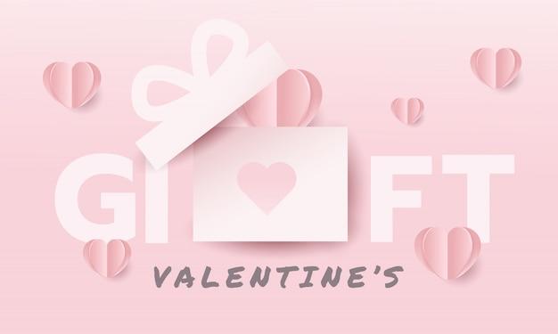 Różowy prezent banner na walentynki.