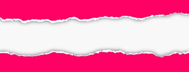 Różowy projekt banera z efektem rozdartego papieru