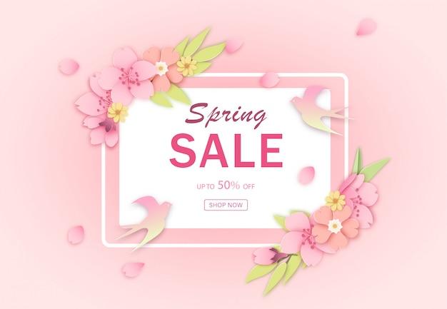 Różowy rabatowy wiosna sprzedaży sztandaru szablon