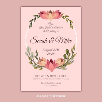 Różowy ręcznie malowane kwiatowy zaproszenie na ślub ramki