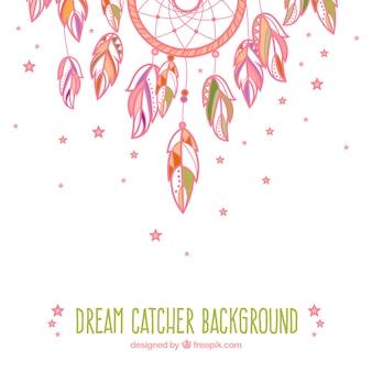 Różowy ręcznie rysowane tła słodkie dream catcher